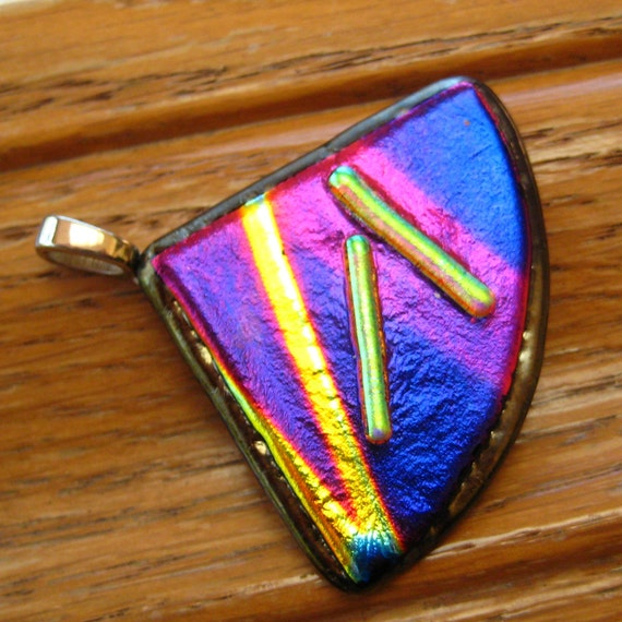 Fused Glass Pendant,  Dichroic Jewelry, Fan Shaped Glass Pendant