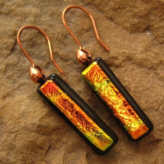 Fused Glass Earrings, Dichroic Fused Glass  Earrings - Sunset Copper Dangles