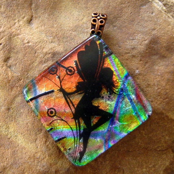 Fused Glass Jewelry, Fairy  Dichroic Fused Glass  Pendant -Fairy on the Diagonal