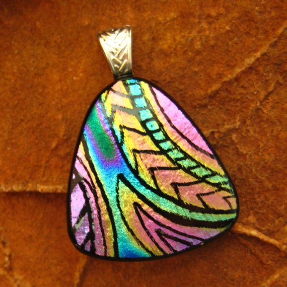 Dichroic Fused Glass Zentangle Pendant, Fused Glass - Southwest