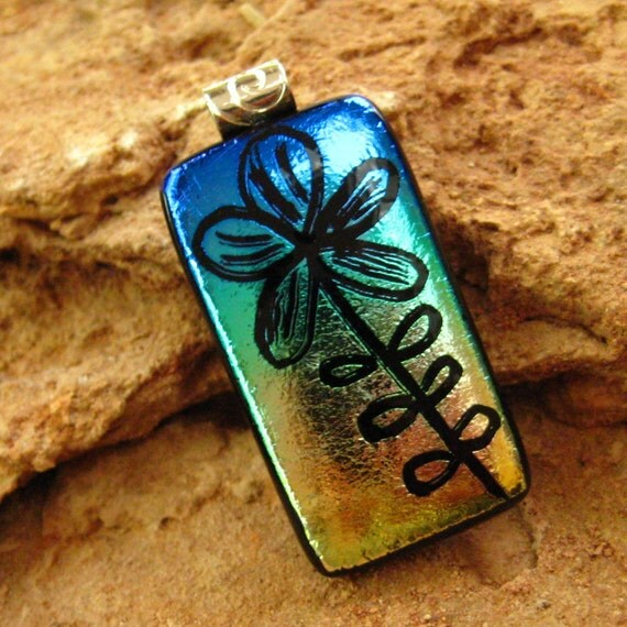 Dichroic Fused Glass  Pendant, Hand Etched Fused Glass - Blue and Gold Flower Pendant