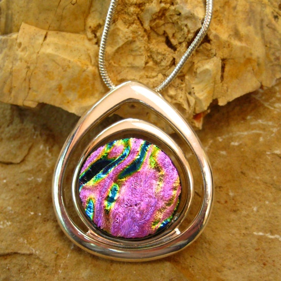 Dichroic Fused Glass in a Silver Setting, Dichroic Glass Pendant - Pretty in Pink