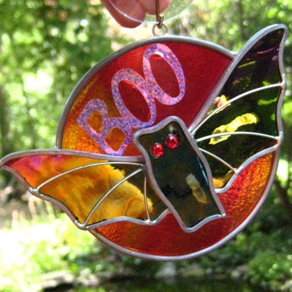 Bat Stained Glass Suncatcher, Halloween Stained Glass - Bat on the Moon