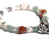 NONA Pregnancy Bracelet with Rose Quartz, Amethyst, Moonstone, Carnelian, Green Aventurine, Pearls, Crystals- potent fertility bracelet