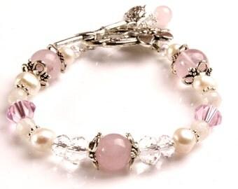 Luna Love Fertility Pregnancy Bracelet -LUNA Love Rose Quartz Moonstone Pearls Crystals