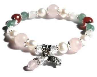 JUNO Fertility Stretch Bracelet with Rose Quartz, Moonstone, Carnelian, Green Aventurine, Pearls, Crystals- great pregnancy bracelet