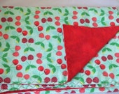 Cherry Print Flannel Baby Toddler Blanket
