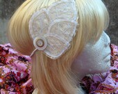 Leaf Elastic Headband- White and Gold Wedding Hair Piece Accessory