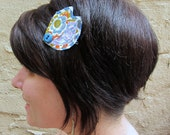 Orange and Lavender Flower Retro Leaves Hair Pin