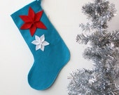 White and Red Poinsettia on Peacock Blue Large Eco Felt Christmas Stocking