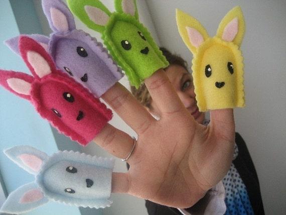 Scrap Bunny Finger Puppet Set - Reserved for jenniferdarnall