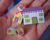 Micro Mini Tiny Village Set of Itsy Bitsy Teeny Tiny Houses Dollhouse Toy  Little Home