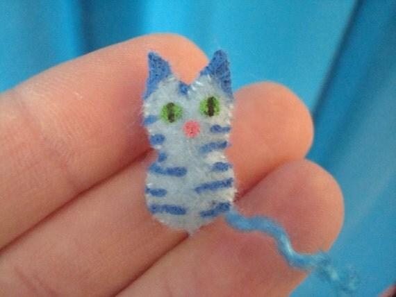 Micro Mini Tiny Kitty Miniature Stuffed Toy Cute Cat Plush Teeny Tiny Tabby Blue Kitten Dollhouse