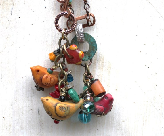 SALE Birds of a Feather Bracelet Polymer Clay Eclectic