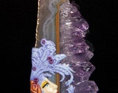 Butterfly Goddess on Natural Amethyst Druzy Slice PENDANT or BEAD natural stone and Polymer Clay