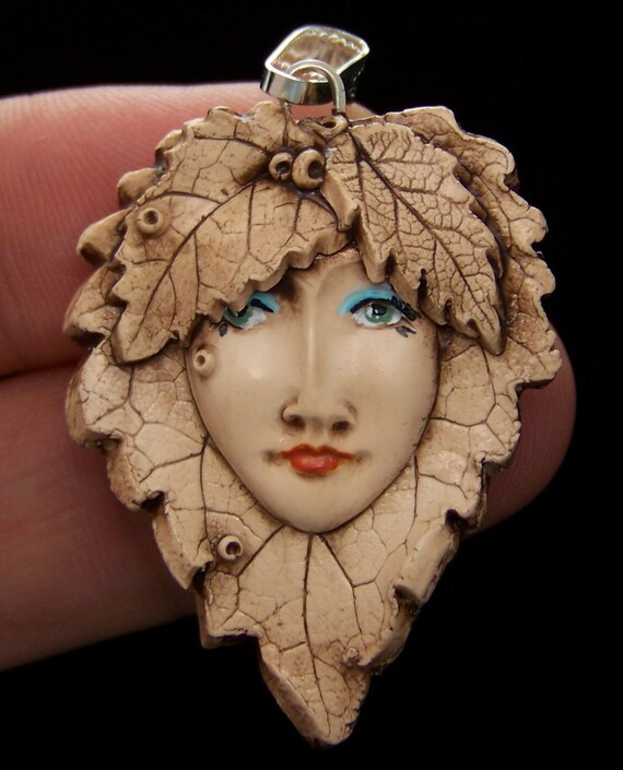 Mulberry Leaf Fairy Lady Face BEAD or PENDANT Antiqued Polymer clay