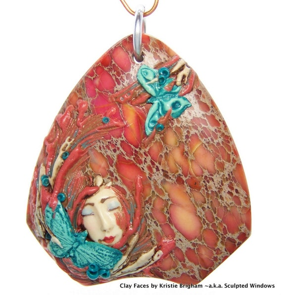 Butterfly Blessings Fairy Lady Face PENDANT BEAD on Sea Sediment Jasper Polymer Clay and Stone