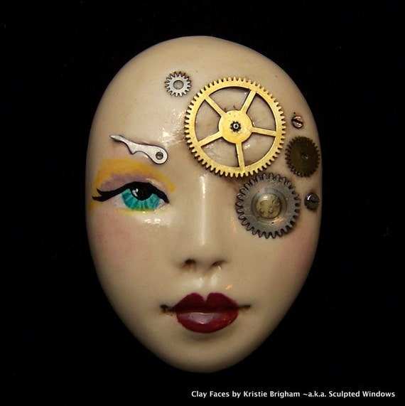 Petite STEAMPUNK Lady Face Cabb Cabochon Hand Painted Polymer Clay with vintage watch parts
