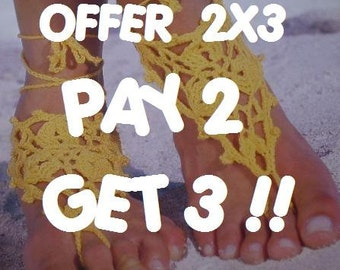 PAY 2 and GET 3 - 2x3 Special Offer - Italian Barefoot Sandals PLEASE Specify the Color You Want