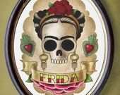 Frida skull girl 8x10 print flash tattoo imagery