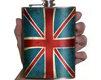 Union Jack British Flag flask - Stainless Steel - 8oz.