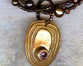 Long Twisted Pearls and Bronze Necklace
