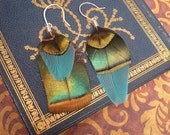 Asymmetrical Ocellated Turkey & Macaw Feather Earrings