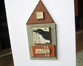 Birdhouse Number 11 OOAK Collage Greeting Card