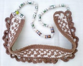 TWO  IN  ONE - etnic crochet necklace / ceramic stones