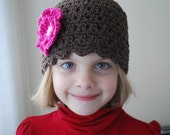 5T to Preteen Brown Flapper, Fuchsia, Pale Pink Flower