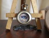 SALE - Unique Steampunk Eye Clock - Intriguing Steampunk Eye Art Necklace With Trinket Box