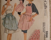 Vintage McCalls 6664 Jr. & Misses checked gingham smocked aprons