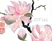 Fleeting Blossoms-  4x5 Print of Original Brush Painting (small)