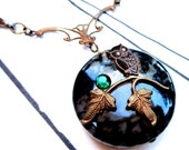 Owl Tale of Midnight Moon- A Gothic Vintage Brass Necklace