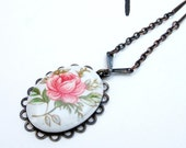 RESERVED FOR ERIN  By Any Other Name- Vintage Glass Pink Rose Blossom Cameo Necklace
