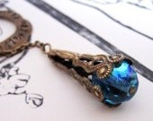 RESERVED for Karen  BeJeweled Sky- Victorian Brass Lariat Necklace OOAK