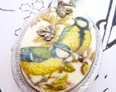 Flights of Fancy- Huge Vintage Bird Cameo Silver Locket