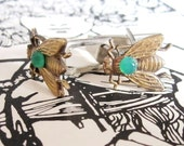 Your Love is Like a Fly on my Sandwich- Elegant Vintage Brass Fly CuffLinks