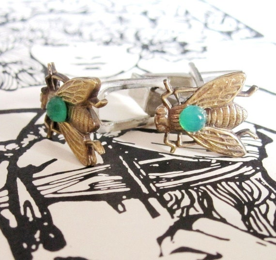 Your Love is Like a Fly on my Sandwich- Elegant Vintage Brass Fly CuffLinks