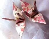 Sakura Peace Crane Bird, Wedding Cake Topper, Party Favor Origami Christmas Ornament Japanese Paper Anniversary Decoration Ivory Gold Pink