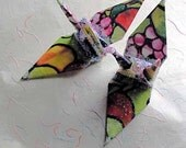 Neon  Peace Crane Wedding Cake Topper Party Favor Origami Christmas Ornament Bird Stained Glass Fruit Paper Japanese Decoration
