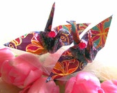 Peace Crane, Wedding Cake Topper,  Party Favor Bird Ornament Origami Table Decoration Place Card Holder Paper Anniversary Magenta Butterfly