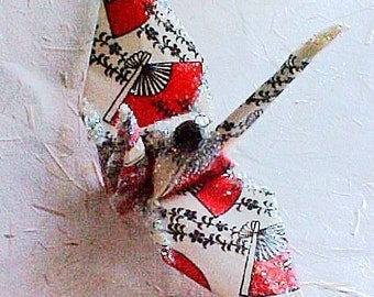 Red Fan Peace Crane Bird Wedding Cake Topper Party Favor Origami Christmas Ornament Japanese Paper Place Card Holder Table Decoration