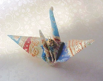 Blue Paisley Peace Crane Wedding Cake Topper Christmas Ornament Origami Japanese Bird Party Favor Place Card Holder Table Decoration Gold
