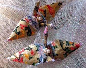 Golden Florentine Peace Crane Bird Christmas Ornament Wedding Cake Topper Party Favor Origami Japanese Paper 1st Anniversary Decoration