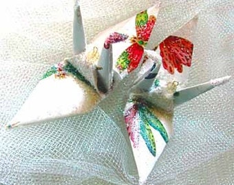 Dragonfly Peace Crane Bird, Wedding Cake Topper, Party Favor Christmas Ornament Origami Japan Paper Anniversary Place Card Holder Decoration