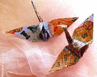 Bingo Peace Crane Bird, Wedding Cake Topper,  Party Favor. Origami Ornament. Japanese Paper Place Card Holder Game
