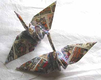 Tarot Time Peace Crane Bird Wedding Cake Topper Party Favor Origami Christmas Ornament Japan Paper Anniversary Place Card Holder Decoration