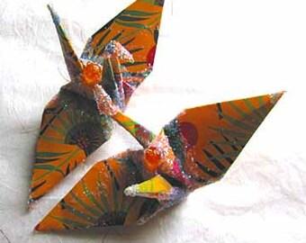 Harlem Renaissance Art Deco Peace Crane Bird Christmas Ornament Wedding Cake Topper  Party Favor Origami  Kwanzaa Paper Africa Decoration