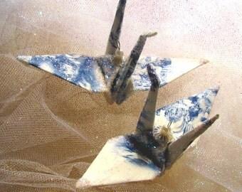 Valentine Cupid Peace Crane Bird Wedding Cake Topper Party Favor Origami Ornament Decoration Japan Paper 1st Anniversary Putti Angel Blue